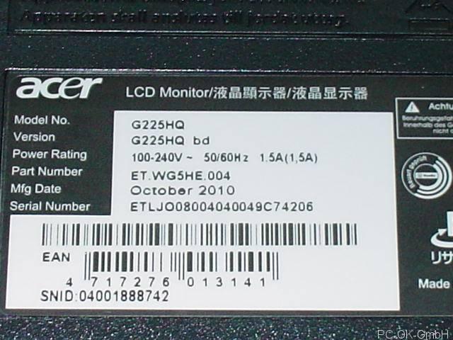 有关以下物品的详细资料: acer g225hq bd 55cm tft lcd monitor dvi